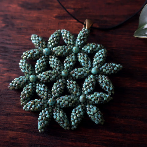Temple Tree Flower of Life Beaded Pendant - Faux Turquoise