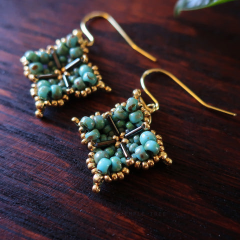 Temple Tree Quatrefoil Mandala Beaded Earrings - Faux Turquoise and Gold