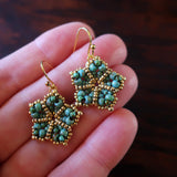 Temple Tree Mandala Flower Beaded Earrings - Faux Turquoise and Gold