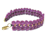 Heart in Hawaii Maile Inspired Beaded Leaf Vine Bracelet - Ultraviolet
