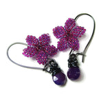 Heart in Hawaii Plumeria Flower Kahiko Earrings with Purple Chalcedony