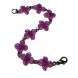 Heart in Hawaii Quatrefoil Ixora Flower Beaded Bracelet - Ultraviolet