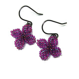 Heart in Hawaii Ixora Flowers - Tiny Beaded Quatrefoil Dangles in Ultraviolet