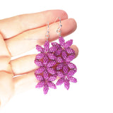Heart in Hawaii Triple Beaded Seed of Life Flower Earrings - Your choice of color