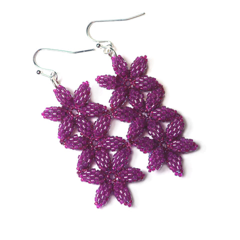 Heart in Hawaii Triple Beaded Seed of Life Flower Earrings - Ultraviolet