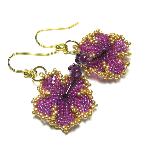 Heart in Hawaii Beaded Hibiscus Earrings - Ultraviolet with Gold