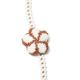 "Heart in Hawaii Extra Long 40"" Beaded Necklace with Plumeria Clip - White and Copper"