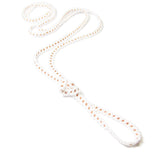 "Heart in Hawaii Extra Long 40"" Beaded Necklace with Optional Plumeria Clip - White and Copper"