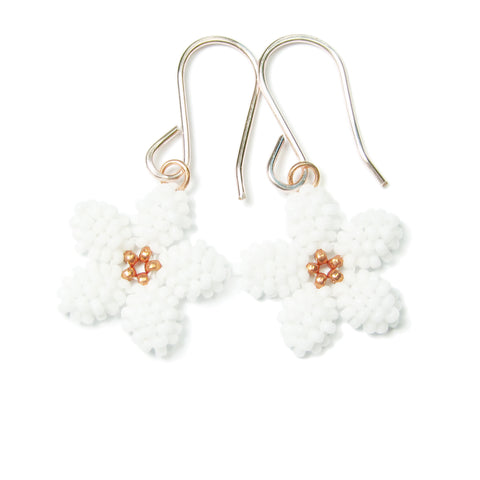 Heart in Hawaii Pua Kawaii - Tiny Plumeria Dangles in White with Copper