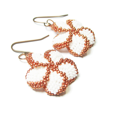 Heart in Hawaii Plumeria Dangle Earrings - White with Copper