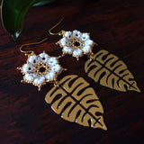 Temple Tree Dharma Wheel Earrings with Monstera - White and Gold