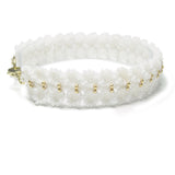 Heart in Hawaii Maile Inspired Beaded Leaf Vine Bracelet - White and Gold