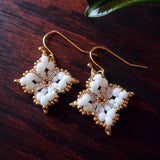 Temple Tree Quatrefoil Mandala Beaded Earrings - White and Gold