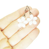 Heart in Hawaii Tiny Plumeria Flower Dangles - Monotone