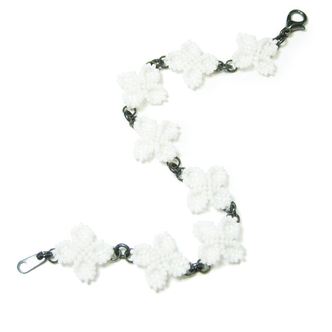 Heart in Hawaii Quad Petal White Ixora Flower Beaded Bracelet - Monotone