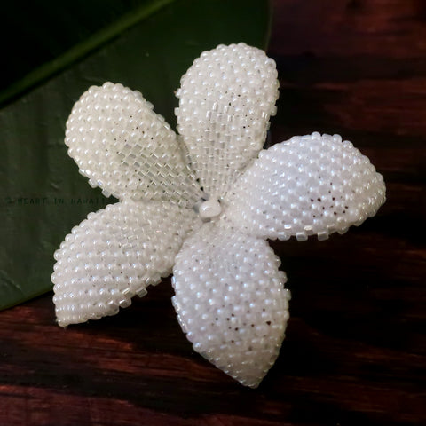 Heart in Hawaii 2 Inch Beaded Plumeria Flower Brooch - White Pearl