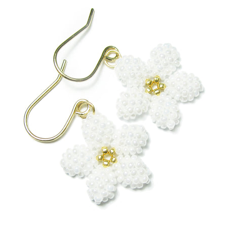 Heart in Hawaii Pua Kawaii - Tiny Plumeria Dangles in Pearly White with Gold