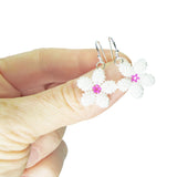 Heart in Hawaii Tiny Plumeria Dangles in White Pearl with Fuchsia
