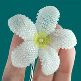 Heart in Hawaii Beaded Plumeria Flower - Pearly White with Yellow