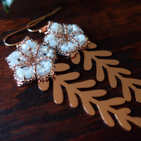 Temple Tree Mandala Flower Earrings with Rose Gold Leaves