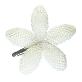 Heart in Hawaii Beaded Plumeria Flower - White Satin - 3 sizes