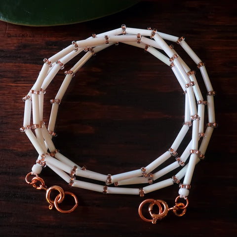 Temple Tree Bamboo Weave Beaded Mask Lanyard - White with Sparkly RoseGold
