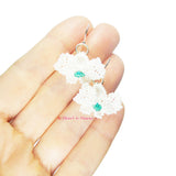 Heart in Hawaii Pua Okiko - Tiny Beaded Orchid Earrings - White and Teal