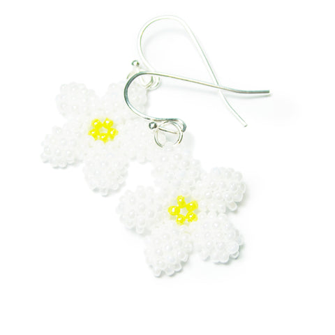 Heart in Hawaii Pua Kawaii - Tiny Plumeria Dangles in White Pearl with Yellow