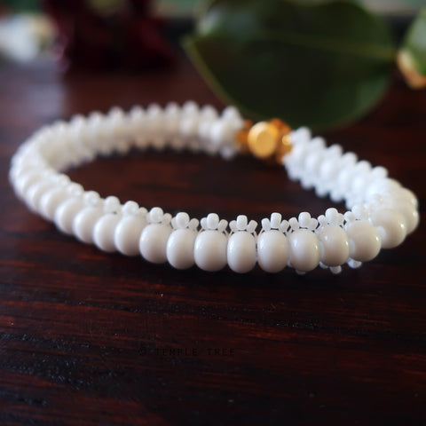 Temple Tree Bohemian Glass Bead Caterpillar Weave Bracelet - Opaque White