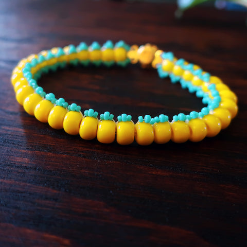 Temple Tree Boho Glass Bead Caterpillar Weave Bracelet - Yellow and Aqua