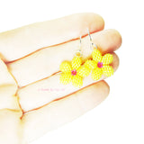 Heart in Hawaii Tiny Plumeria Dangles in Yellow and Fuchsia