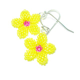 Heart in Hawaii Pua Kawaii - Tiny Plumeria Dangles in Yellow and Fuchsia