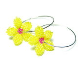 Heart in Hawaii Pua Kawaii - Tiny Plumeria Hoop Earrings - Yellow and Fuchsia