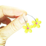 Heart in Hawaii Tiny Plumeria Hoop Earrings - Yellow and Fuchsia
