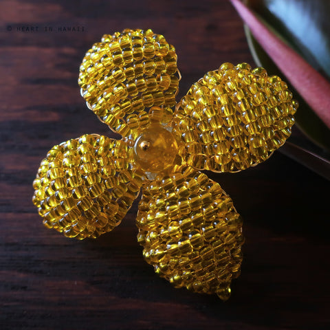 Heart in Hawaii Makalapua Quatrefoil Beaded Flower Pin - Yellow and Gold