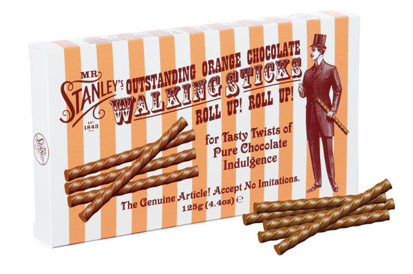 Chocolate orange sticks, shaped like a walking stick