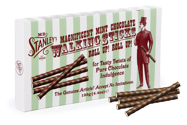 Chocolate mint sticks, in the design of a walking stick