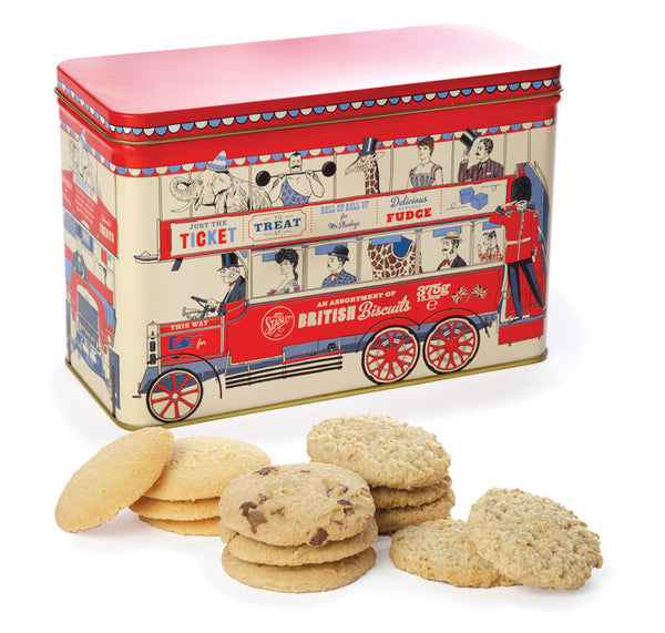 Assorted biscuits in a novelty tin