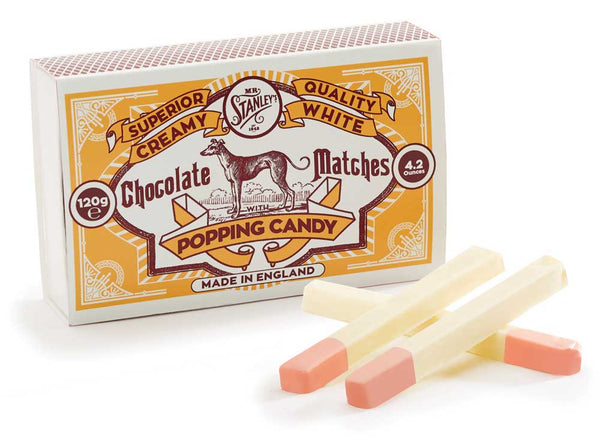 White chocolate popping candy matches