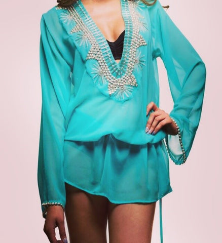 Turquoise and Silver Beachwear