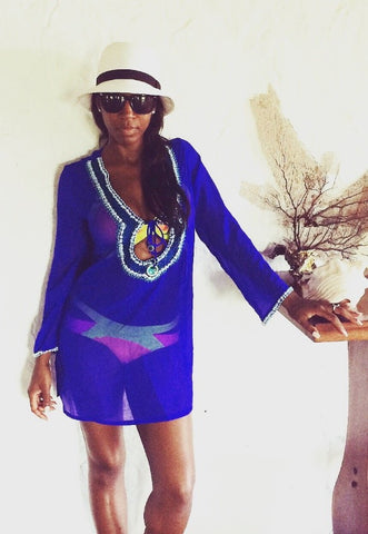 Electric Blue Beach Kaftan