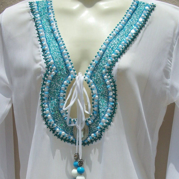 White Blue Swimsuit Coverups Beach Glam