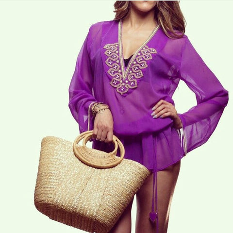 Purple Silk Blouse Beach Glam