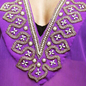 Purple Gold Embroidered Tunic Dress Beach Glam