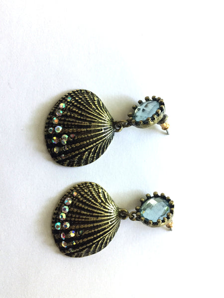 Womens Shell and Crystal Earrings