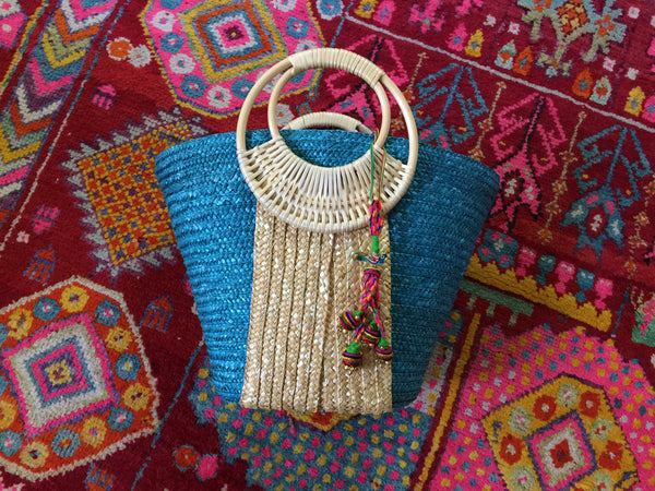 Turquoise and Brown Parrot Colorful Woven Tassel Bag
