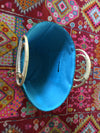 Brown Stripe Blue Bag with Inagua Island Tassel