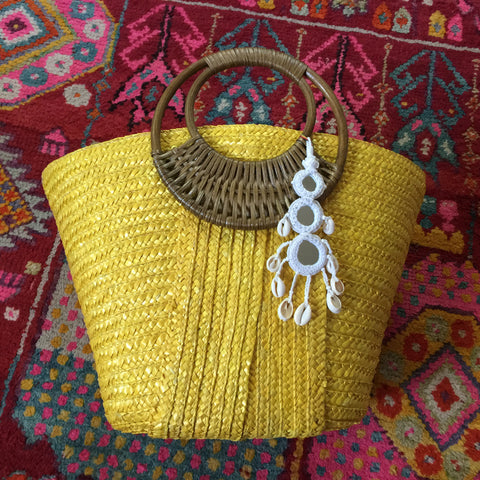 Yellow Tote Bag with White Tassel