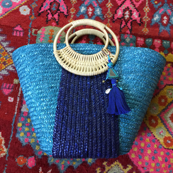 2-Toned Blue Beach Bag with Blue Tassel