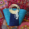 Navy Striped Blue Bag with Paradise Island Tassel